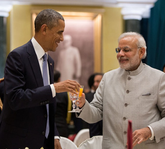 Obama and Modi in the White House CC Wikicommons