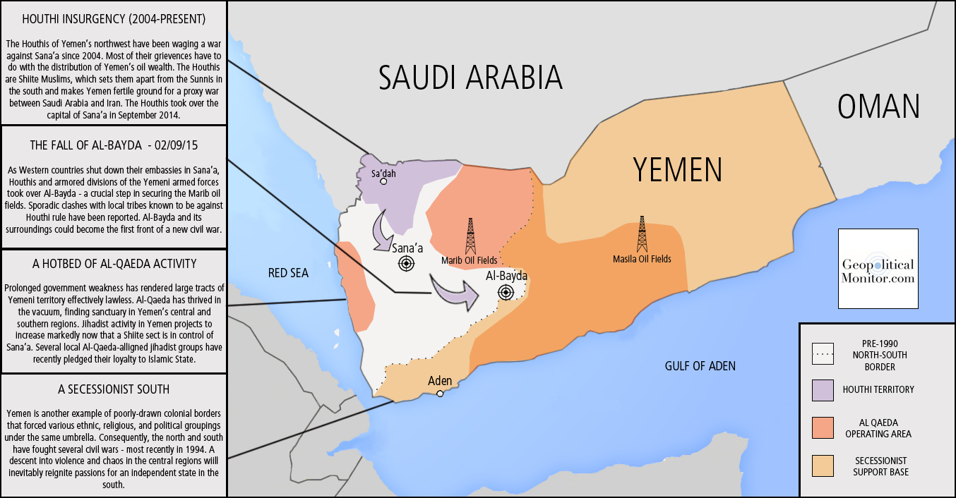 Map Yemen Geopolitical Monitor - Yemen maps with countries