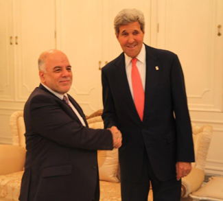 al-Abadi and John Kerry, cc US State Department