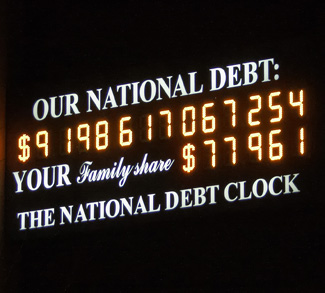 Us Debt Clock in 2008. The total debt has since grown to over $16 trillion. CC Flickr Jason Kuffer