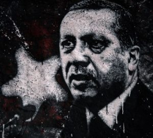 Grafitti of Turkey president Tacip Erdogan, whose policy is turning the MENA region upside-down.