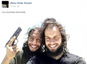 Abdelhamid Abaaoud (left) in a photo from his Facebook page
