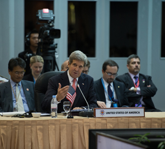 BANDAR SERI BEGAWAN, Brunei (July 1, 2013) U.S. Secretary of State John Kerry gives remarks during the U.S.-ASEAN Ministerial Meeting [State Department photo by William Ng/Public Domain]