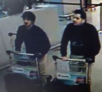 CCTV footage of the Belgium attacks suspects. Public Domain.
