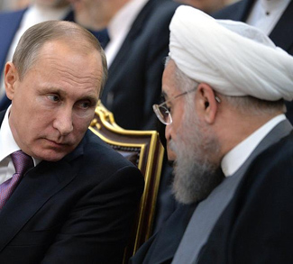 Russia President Putin and Iran President Rouhani discuss the Syria civil war at a summit.