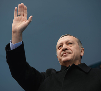 Turkey President Erdogan waves.