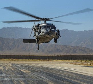 An HH-60G Pave Hawk helicopter carrying simulated casualties comes in for a landing during a recovery exercise at Bagram Airfield, Afghanistan, Sept. 3, 2016. The helicopter crew is assigned to the 83rd Expeditionary Rescue Squadron. Air Force photo by Senior Airman Justyn M. Freeman
