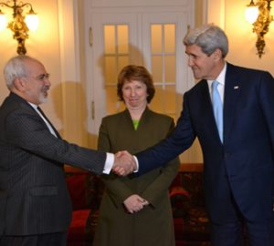 Kerry shakes hand with Iranian counterpart to seal the Iran nuclear deal.