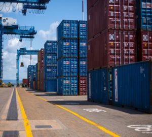 KENYA, Mombasa: Photograph taken by the Kenyan Ministry of East African Affairs, Commerce and Tourism (MEAACT) 31 July shows a general view of containers inside Mombasa Port on Kenya's Indian Ocean coast. MANDATORY CREDIT: MEAACT PHOTO / STUART PRICE.