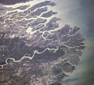 Indus River from space, cc Flickr eutrophication&hypoxia, modified, cc 2.0 https://creativecommons.org/licenses/by/2.0/