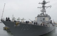 170713-N-AX638-0167 CHENNAI, India (July 13, 2017) The Arleigh Burke-class guided-missile destroyer USS Kidd (DDG 100) departs Chennai, India, to begin the at-sea phase of Malabar 2017. Malabar 2017 is the latest in a continuing series of exercises between the Indian Navy, Japan Maritime Self Defense Force and U.S. Navy that has grown in scope and complexity over the years to address the variety of shared threats to maritime security in the Indo-Asia Pacific. (U.S. Navy Photo by Mass Communication Specialist 2nd Class Tyler Preston/Released)