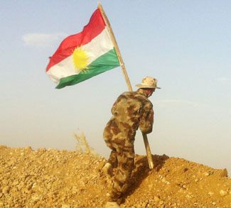 Kurdishflag, cc Flickr Kurdishstruggle, modified, https://creativecommons.org/licenses/by/2.0/