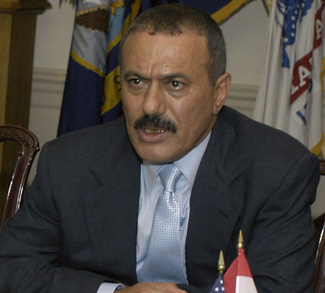 President ALI Saleh (center), of the Republic of Yemen, and his delegation meet with Secretary of Defense Donald H. Rumsfeld and his staff at the Pentagon on June 8, 2004. The two leaders are meeting to discuss defense issues of mutual interest. DoD photo by Helene C. Stikkel.