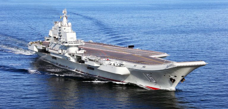 China's first aircraft carrier - the Liaoning. CC Flickr Simon Yang, modified, https://creativecommons.org/licenses/by-sa/2.0/