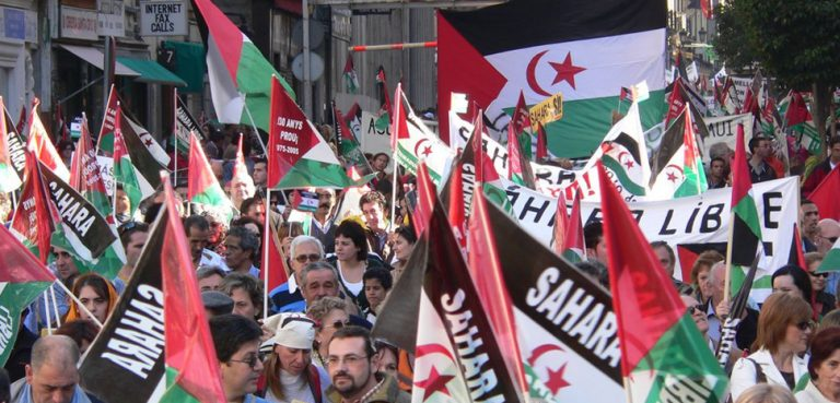 A pro-Western Sahara protest in Madrid, cc Flickr Western Sahara, modified, https://creativecommons.org/licenses/by-sa/2.0/