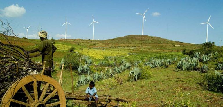 India_fields_and_wind_turbines, cc Flickr Yahoo, modified, https://creativecommons.org/licenses/by/2.0/