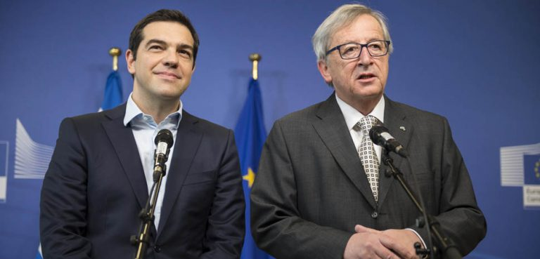 Tsipras_and_Junker, cc FLickr Αλέξης Τσίπρας Πρωθυπουργός της Ελλάδας, modified, https://en.wikipedia.org/wiki/Alexis_Tsipras#/media/File:Tsipras_and_Junker.jpg