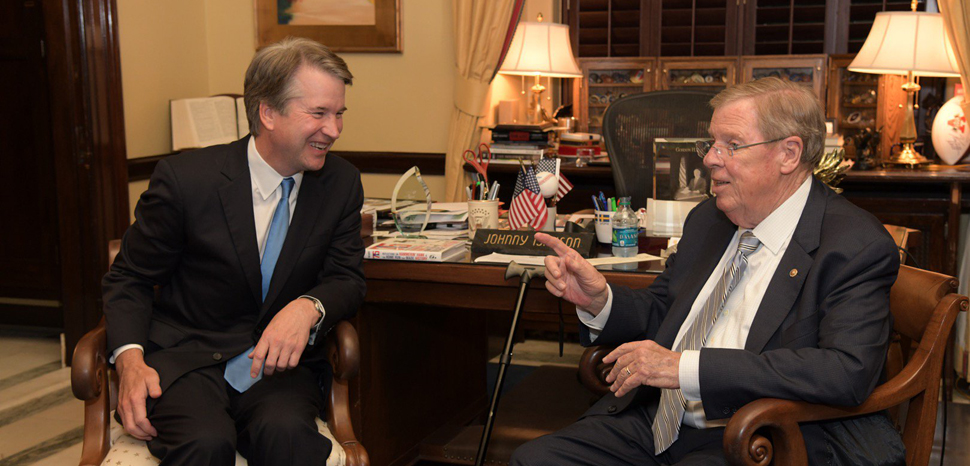 Brett_Kavanaugh_and_Johnny_Isakson, public domain, Wiki commons Office of Senator Johnny Isakson, modified, https://commons.wikimedia.org/wiki/File:Brett_Kavanaugh_and_Johnny_Isakson.jpg