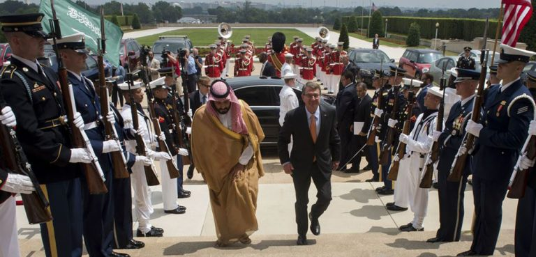 Defense Secretary Ash Carter hosts an enhanced honor cordon to welcome Deputy Crown Prince Mohammed bin Salman, Saudi Arabia's defense minister, to the Pentagon, June 16, 2016. DoD photo by Air Force Senior Master Sgt. Adrian Cadiz, modified, https://dod.defense.gov/Photos/Photo-Gallery/igphoto/2001554944/