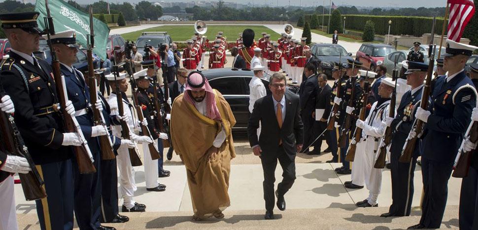 Defense Secretary Ash Carter hosts an enhanced honor cordon to welcome Deputy Crown Prince Mohammed bin Salman, Saudi Arabia's defense minister, to the Pentagon, June 16, 2016. DoD photo by Air Force Senior Master Sgt. Adrian Cadiz, modified, https://dod.defense.gov/Photos/Photo-Gallery/igphoto/2001554944/