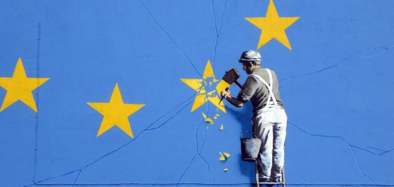 BanksyBrexit, cc Flickr Duncan Hill, modified, https://creativecommons.org/licenses/by/2.0/, QUOTE: Banksy has a much publicised casual attitude towards recreational copyright infringement and you are invited to download whatever you wish from www.banksy.co.uk for personal use. However, making your own art or merchandise and passing it off as 'official' or authentic Banksy artwork is a criminal offence.... Please feel free to * Copy any www.banksy.co.uk imagery in any way for any kind of personal amusement * Make your own Banksy merchandise for non-commercial purposes * Pretend you drew it yourself for homework Please do not: * Put up signs saying
