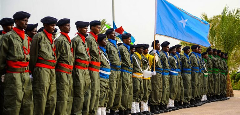 Around 200 Somali graduates completed Italian Mission Training 5, a nearly three-month training program where they learned policing skills as part of an agreement between Italy and Somalia at the Djibouti Police Academy, June 23, 2016. The course taught the trainees skills in crime scene investigation, counterterrorism intervention, riot control, environmental protection and others. During the ceremony, Italian Army Col. Renato Chicoli thanked the trainees, Somali Police Forces, as well as the National Gendarmerie and police of Djibouti for their dedication to the success of the mission. (U.S. Air Force photo by Senior Airman Benjamin Raughton/Released)