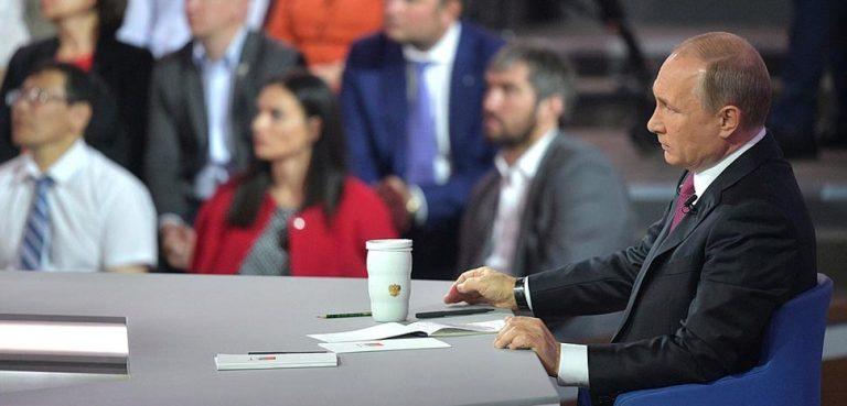 President Putin during annual call-in show, cc Kremlin.ru, http://en.kremlin.ru/events/president/news/54790
