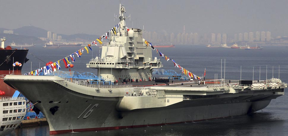 The Liaoning PLA NAvy aircraft carrier, cc Flickr Simon Yang, modified, https://creativecommons.org/licenses/by-sa/2.0/