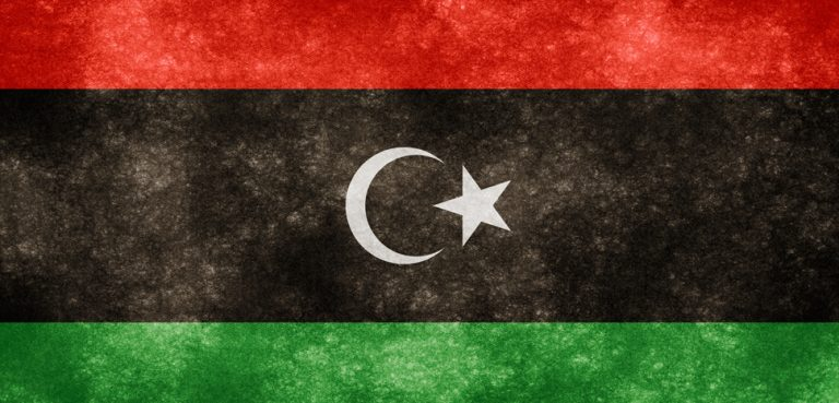 Libyagrungeflag, cc Flickr Nicolas Raymond, modified, http://freestock.ca/flags_maps_g80-libya_grunge_flag_p1090.html