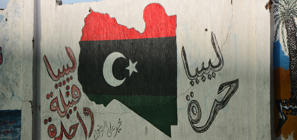 Libya Flag grafitti, cc Ben Sutherland Flickr, modfied, https://creativecommons.org/licenses/by/2.0/