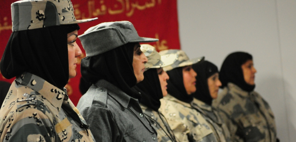 Afghan police prepare to graduate, cc Flickr NATO Training Mission-Afghanistan, modified, https://creativecommons.org/licenses/by-sa/2.0/