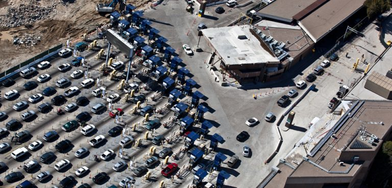 Border Traffic at the San Ysidro Primary Port of Entry., cc US Customs and Border Protection, modified, https://commons.wikimedia.org/wiki/File:San_Ysidro_Border_Traffic_(8652039817).jpg