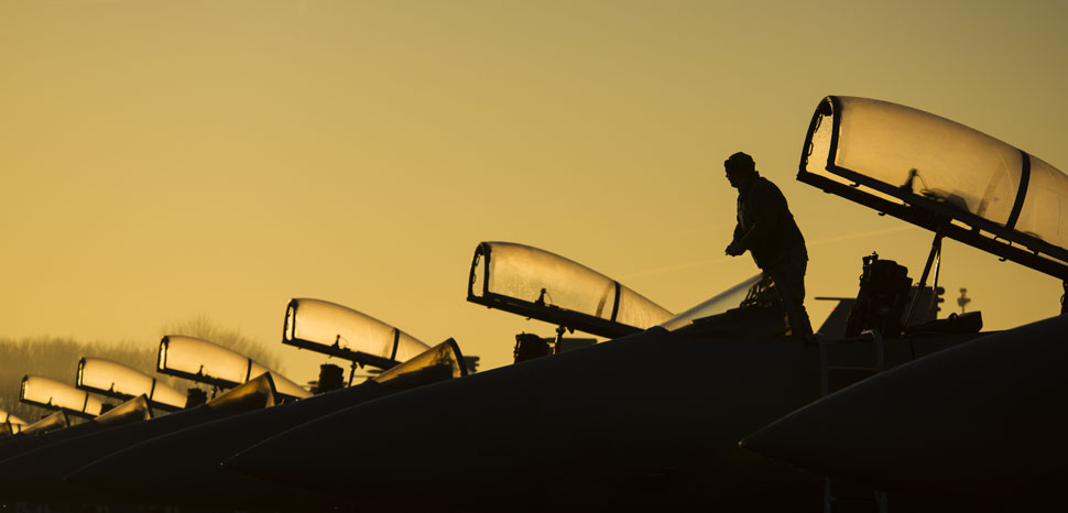 cc Flickr, modified, U.S. Department of Defense Current Photos, U.S. Air Force Staff Sgt. Joshua Matrine, a crew chief with the 159th Aircraft Maintenance Squadron, cleans the canopy on an F-15C Eagle aircraft assigned to the Louisiana Air National Guard at Leeuwarden Air Base, Netherlands, March 28, 2017. The 122nd Expeditionary Fighter Squadron, comprised of Louisiana and Florida Air National Guard members, conducted training alongside NATO allies to strengthen interoperability and demonstrate U.S. commitment to the security and stability of Europe. (U.S. Air Force photo by Staff Sgt. Jonathan Snyder)