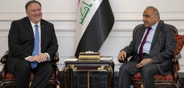 Secretary of State Michael R. Pompeo meets with Iraqi Prime Minister Adil Abdul-Mahdi, Baghdad, Iraq, May 7, 2019., cc Flickr US Department of State, modified, http://www.usa.gov/copyright.shtml