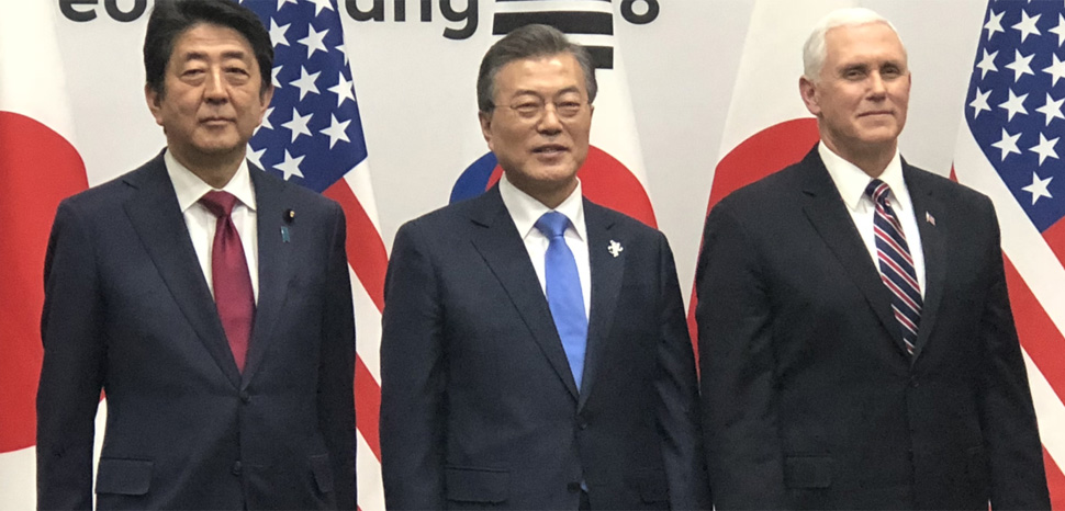 President Moon, Prime MInister ABe, and Vice President Pence, cc S. Herman (Voice of America), modified, https://commons.wikimedia.org/wiki/File:Shinzo_Abe,_Moon_Jae-in,_Pence_in_Pyeongchang.png