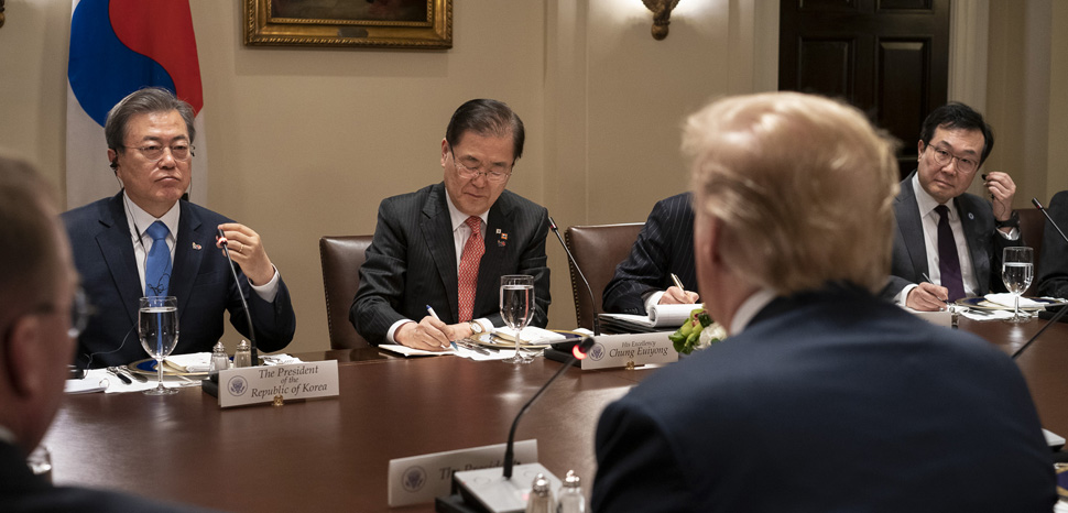 South Korea President Moon Jae-in and US President Donald Trump, CC Flickr White House, modified, https://creativecommons.org/publicdomain/mark/1.0/
