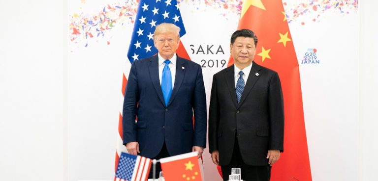 Presidents Trump and Xi at the G20 summit in Japan, cc Flickr White House, modified, public domain