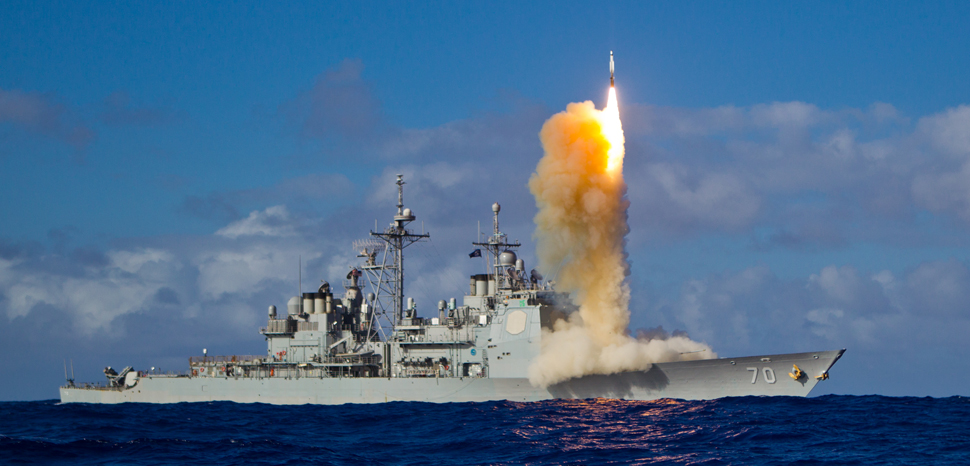Aegis missile launch, cc Flickr U.S. Missile Defense Agency, modified, https://creativecommons.org/licenses/by/2.0/. May 16, 2013 - A Standard Missile – 3 (SM-3) Block 1B interceptor is launched from the USS LAKE ERIE (CG 70) during a Missile Defense Agency and U.S. Navy test in the mid-Pacific. The SM-3 Block 1B successfully intercepted a target missile that had been launched from the Pacific Missile Range Facility, Barking Sands, Kauai, Hawaii. Following target launch, the LAKE ERIE detected and tracked the target with its onboard AN/SPY-1 radar. The ship, equipped with the second-generation Aegis BMD weapon system, developed a fire control solution and launched the SM-3 Block 1B. The intercept occurred a few minutes later. Today's event was the third consecutive successful intercept test of the SM-3 Block IB missile. To learn more, visit www.mda.mil/system/aegis_bmd.html.