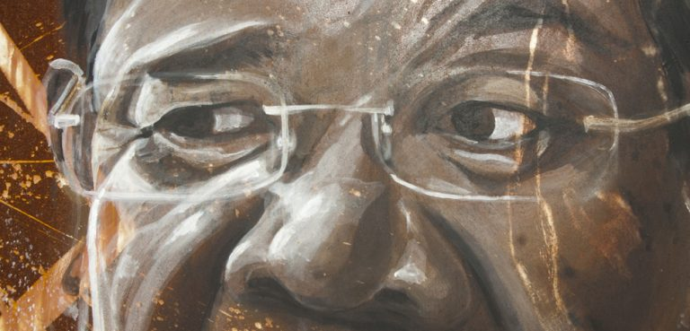 A painted portrait of Cambodian leader Hun Sen, cc Flickr thierry ehrmann, modified, https://creativecommons.org/licenses/by/2.0/