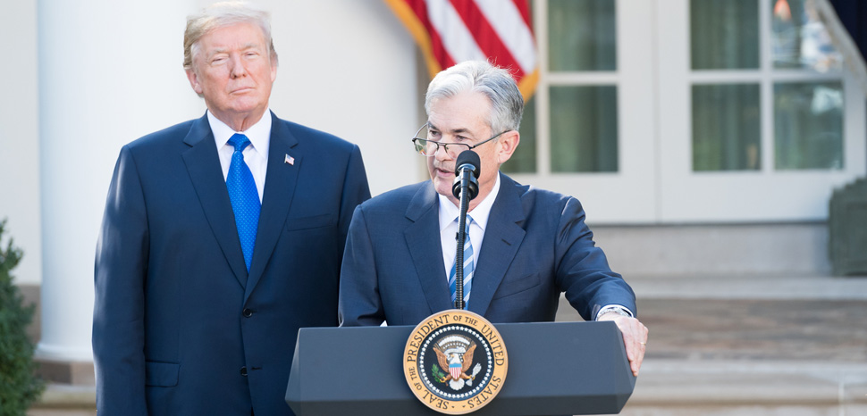 Trump Powell, cc Flickr The White House, modified, https://creativecommons.org/publicdomain/mark/1.0/