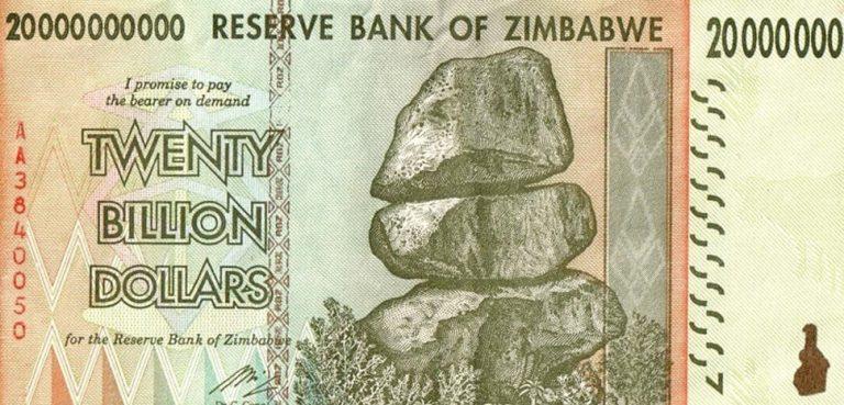 20 billion Zimdollar, cc Renier Martin, https://commons.wikimedia.org/wiki/File:20bil_zimdollar0001.jpg