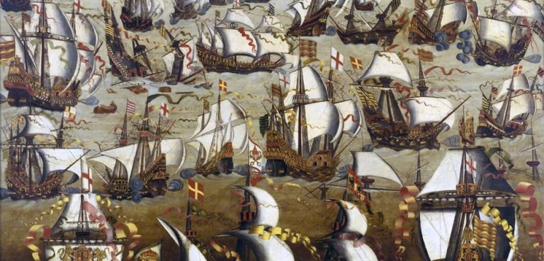 Painting of Spanish Armada, modified, public domain, https://en.wikipedia.org/wiki/Spanish_Armada#/media/File:Invincible_Armada.jpg
