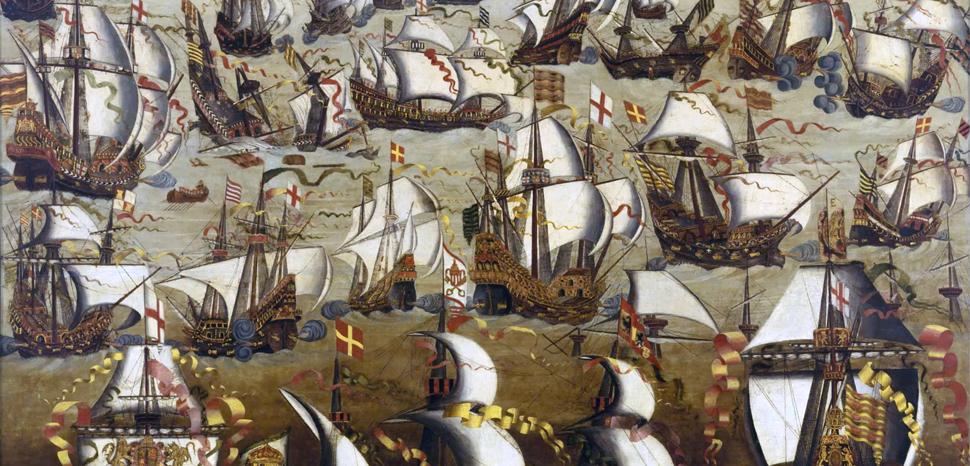 Painting of Spanish Armada, modified, public domain, https://en.wikipedia.org/wiki/Spanish_Armada#/media/File:Invincible_Armada.jpg