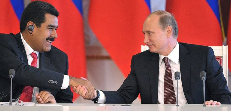 Presidents Maduro and Putin, cc Kremlin.ru, modified, http://en.kremlin.ru/events/president/news/18446,