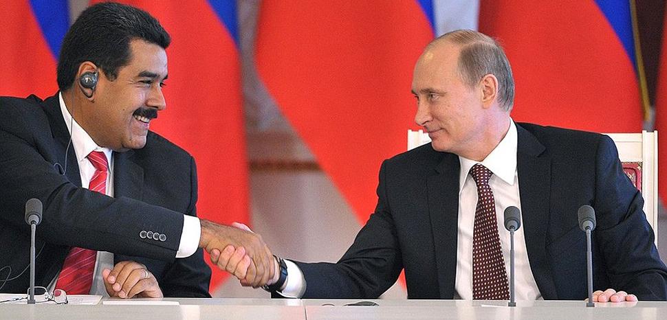 Presidents Maduro and Putin, cc Kremlin.ru, modified, http://en.kremlin.ru/events/president/news/18446,