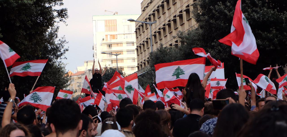 Beirut Protests, modified, cc Shahen Araboghlian, Wikicommons, https://commons.wikimedia.org/wiki/File:Beirut_protests_2019_-_1.jpg
