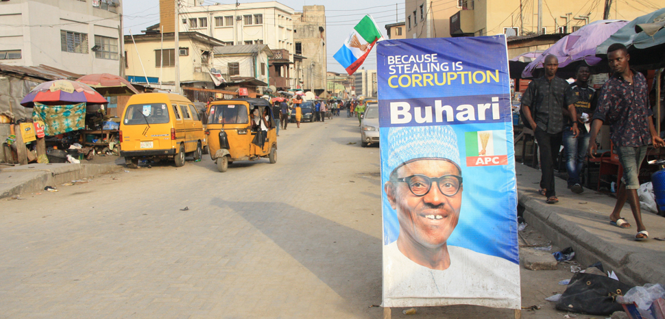 Buhari Poster in Nigeria, cc Flickr Clara Sanchiz, modified, https://creativecommons.org/licenses/by-sa/2.0/