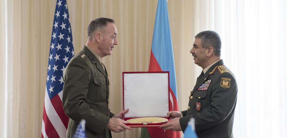CC US Joint Chiefs of Staff, Flickr, modified, https://creativecommons.org/licenses/by/2.0/ Marine Corps Gen. Joseph F. Dunford Jr., chairman of the Joint Chiefs of Staff, meets with Col. Gen. Zakhir Hasanov, Azerbaijan Minister of Defense, and Col. Gen. Najmaddin Sadikhov, chief of General Staff of Azerbaijani Armed Forces, to discuss the status of the relationship between the military forces of the United States and Azerbaijan at the Ministry of Defense in Baku, Azerbaijan Feb. 16, 2017. (Dept. of Defense photo by Navy Petty Officer 2nd Class Dominique A. Pineiro/Released)