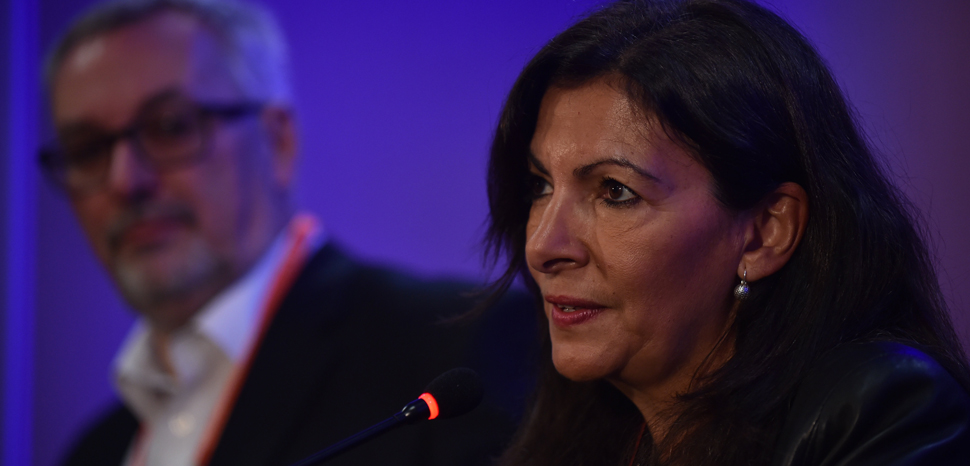 7 November 2017; Anne Hidalgo, Mayor, City of Paris, speaking during a press conference during the opening day of Web Summit 2017 at Altice Arena in Lisbon. Photo by David Fitzgerald/Web Summit via Sportsfile, cc Flickr Web Summit, modified, https://creativecommons.org/licenses/by/2.0/