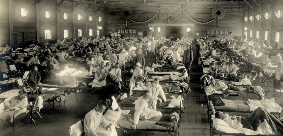 Otis Historical Archives, modified, https://commons.wikimedia.org/wiki/File:Emergency_hospital_during_Influenza_epidemic,_Camp_Funston,_Kansas_-_NCP_1603.jpg, CC 2.0, modified